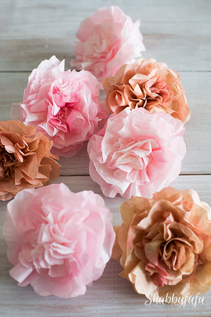 pink coffee filter flowers