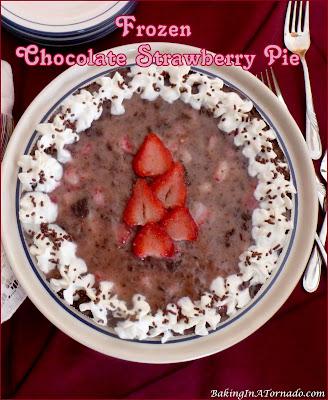 Frozen Chocolate Strawberry Pie is a no bake dessert that can be prepared in minutes. Just freeze to set, garnish, and serve. | Recipe developed by www.BakingInATornado.com | #recipe #dessert