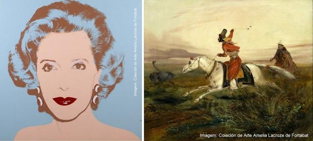 """Retrato de Amalia Lacroze de Fortabat"", de Andy Wahrol, e ""Boleando Avestruzes, de Rugendas"", na Coleção de Arte Amalia Lacroze de Fortabat, Buenos Aires"