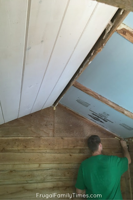 shiplap ceiling before and after