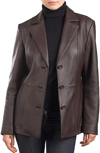 Leather Plus Size Blazers For Women