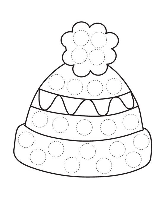Tranh tô màu mũ len chấm bi