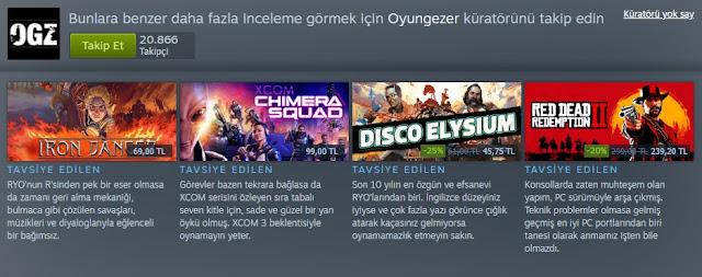 Steam Oyun Gezer Küratör Sayfası