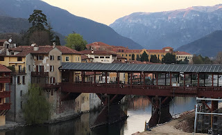 Bassano del Grappa is famous for Andrea Palladio's timber  bridge over the Brenta river, built between 1124 and 1209