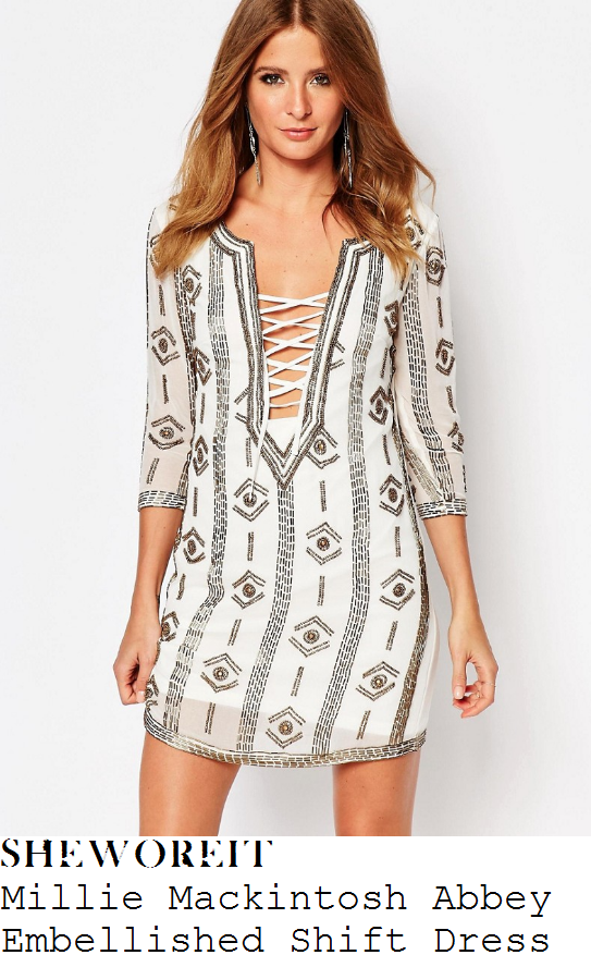 caggie-dunlop-millie-mackintosh-abbey-cream-pewter-geometric-bead-embellished-three-quarter-sleeve-lace-up-plunge-front-shift-dress