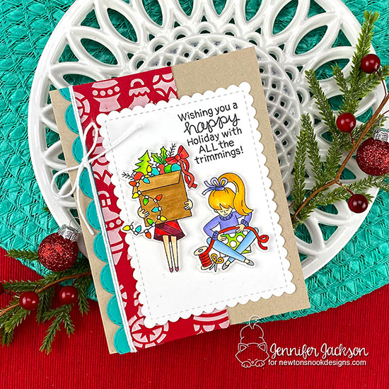 Deck the Halls with Inky Paws Blog Hop! Christmas Trimmings Card by Jennifer Jackson | Christmas Trimmings Stamp Set by Newton's Nook Designs #newtonsnook #handmade