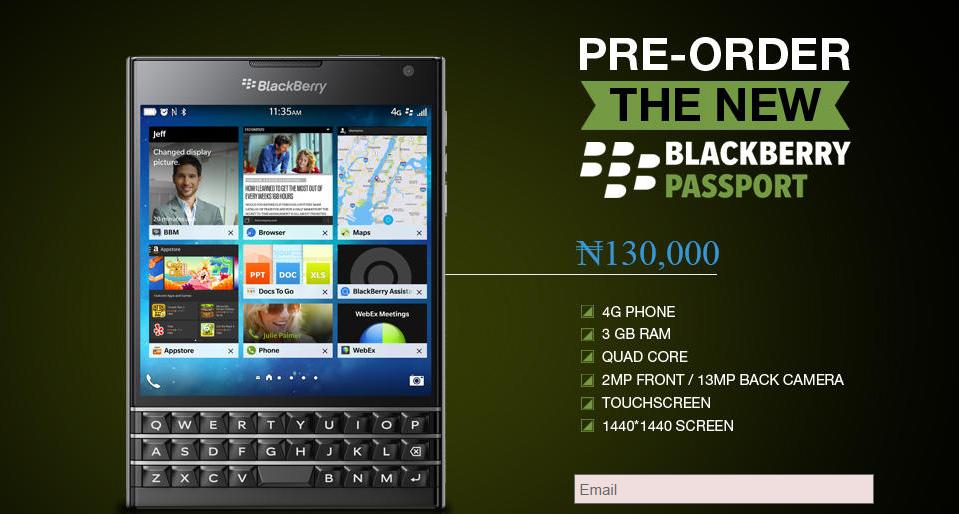 New blackberry passport price