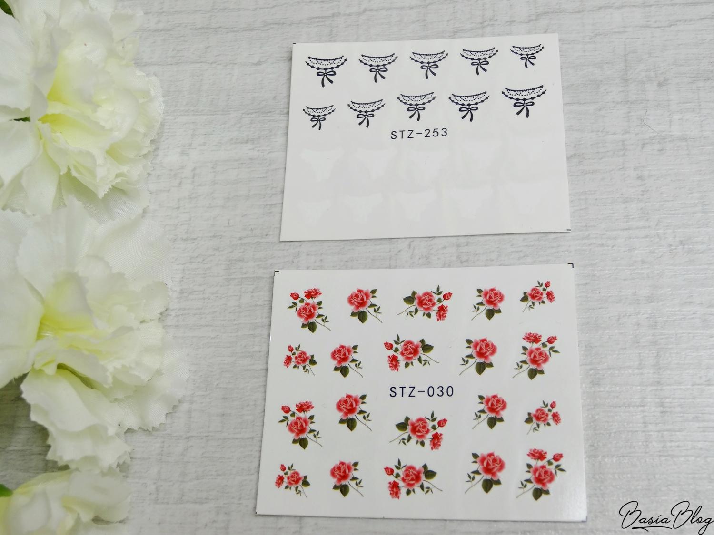 AliExpress haul, zakupy z AliExpress, ozdoby do paznokci, gadżety, naklejki wodne małe kwiaty, nail stickers flowers