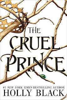 The Cruel Prince book cover (a bare, jagged tree branch with one bright green bug and a golden crown hanging from its branches)