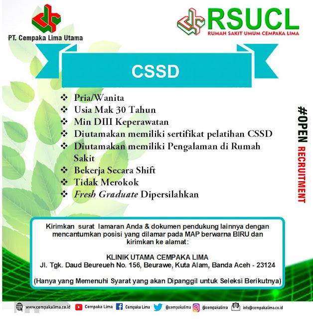 Lowongan Kerja Sebagai CSSD RSU Cempaka Lima Aceh Tahun 2020