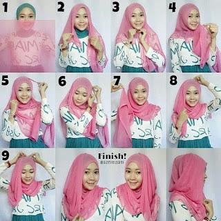 Tutorial hijab segi empat lebaran minimalis