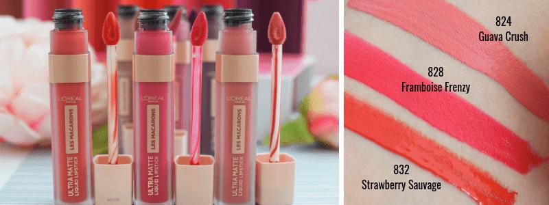 Swatch  L´Oréal Paris Ultra Matte Les Macarons Lippenstifte