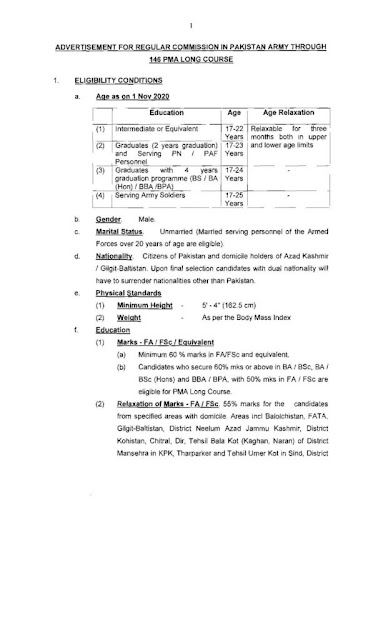 Pak Army as Commission Officer Jobs 2020 PMA 146