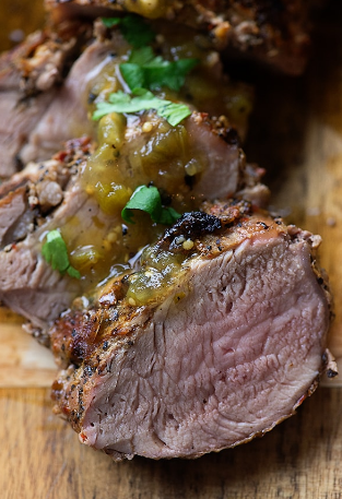 Sirloin Pork with Tomatillo Salsa