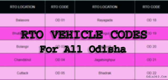 RTO Odisha Location, Functions and RTO Vehicle Codes for all district