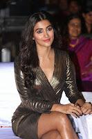 Pooja Hegde looks glamarous in deep neck sleevless short tight golden gown at Duvvada Jagannadham thank you meet function 039.JPG