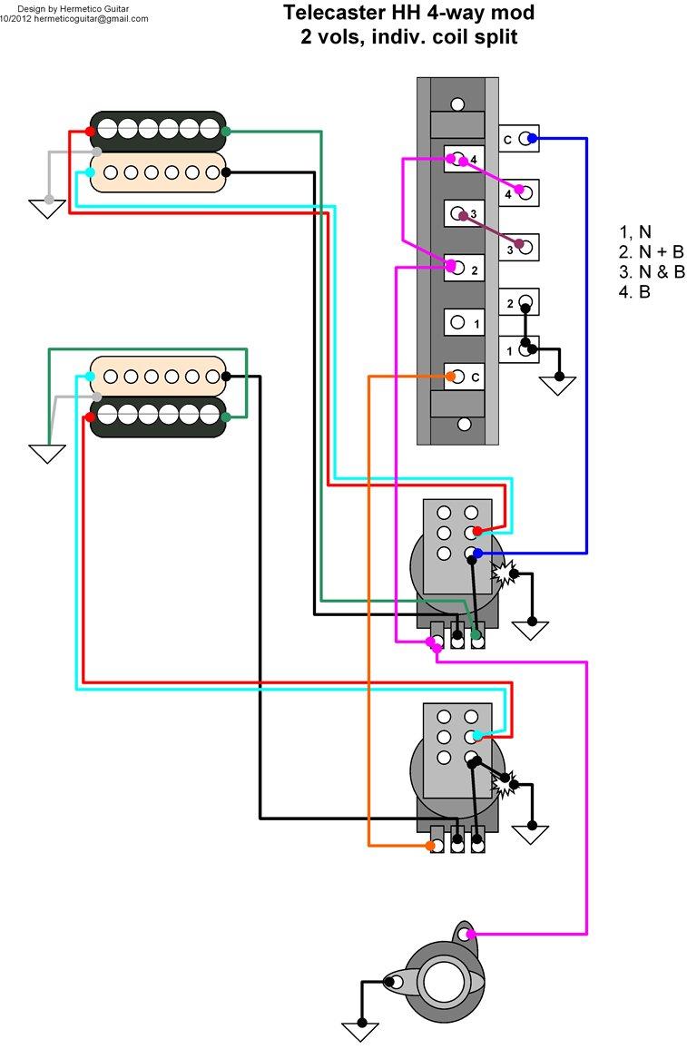 Telecaster 4 Way Wiring Diagram Honda Gx240 Hh Hermetico Guitar Tele Mod With Independentwiring