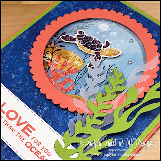 Fun ocean porthole card with the Stampin' Up! Whale Done bundle.