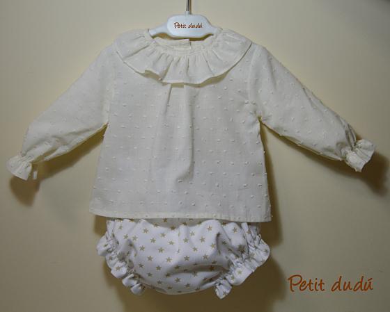 conjunto de Blusa y cubrepañal niño petitdudu