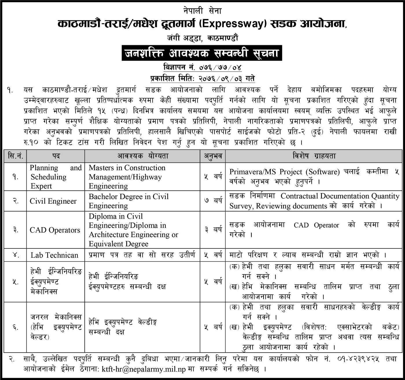 Kathmandu-Terai/Madhesh Expressway Road Project Vacancies