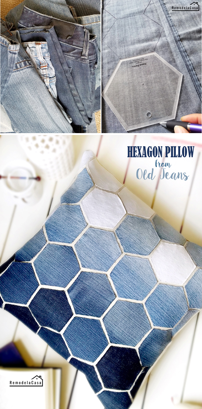 Ombre effect on hexagon pillow cover