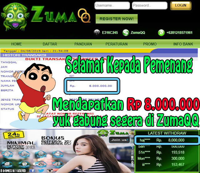 ZumaQQ Agen BandarQ Selamat Kepada Pemenang Periode 4 Agustus 2019