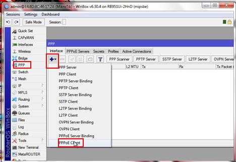 menambahkan PPPoE client dimikrotik