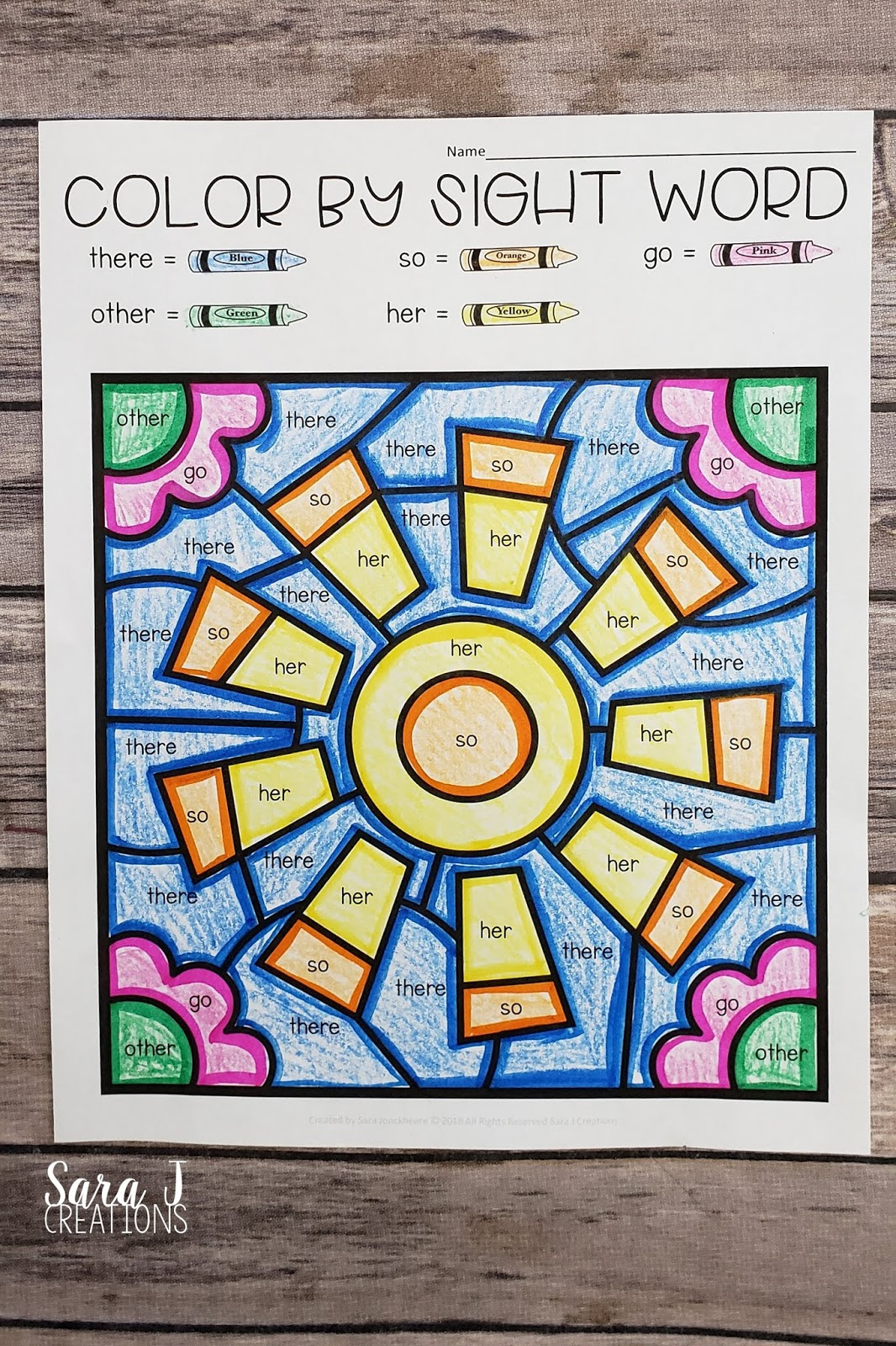 Free Summer Color By Sight Word Coloring Pages