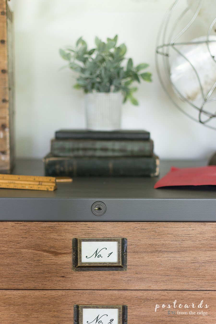 vintage labels on file cabinet makeover