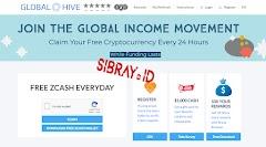 GlobalHive, Faucet ZCASH(Zec) Setiap Hari Langsung WithDraw Indodax