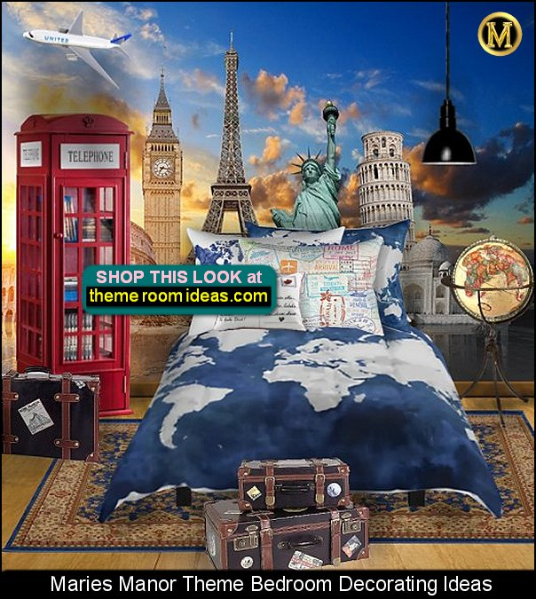 Travel Themed Bedroom travel theme decorating ideas - travel decor - world travel decorating