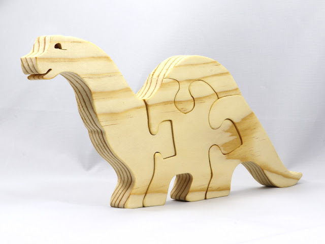 Wood Toy Dinosaur Four Piece Puzzle for Small Children