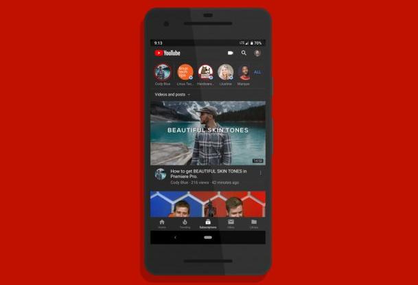 سيسمح لك يوتيوب إعداد المظهر المظلم مع سمة النظام في Android 10
