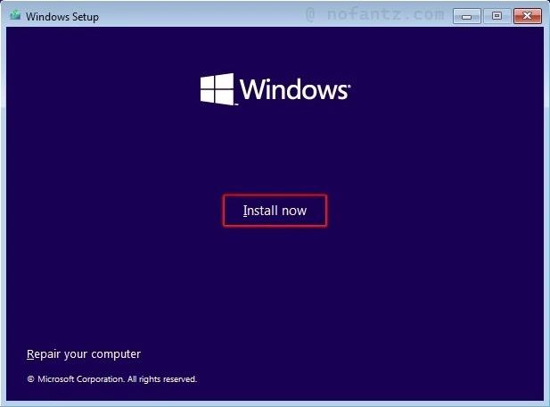 Install Now Windows 11