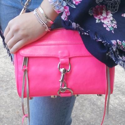 AwayFromTheBlue | Rebecca Minkoff neon pink mini MAC floral kimono