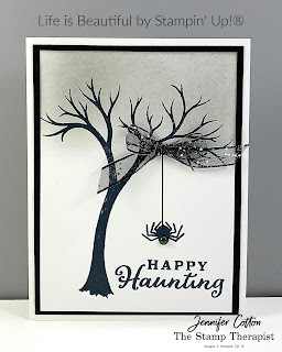 Halloween card using Stampin' Up!®'s Life is Beautiful stamp set plus Celebration Tidings.  I used the Black Glittered Organdy Ribbon and Iridescent Pearls.  #StampinUp #StampTherapist