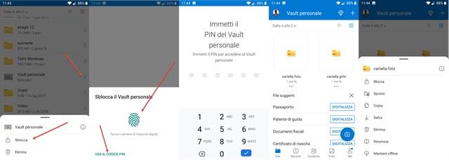 vault personale di onedrive gestito da app per il mobile