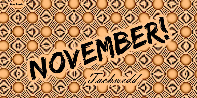 'November - Tachwedd' with jazzy patterned background