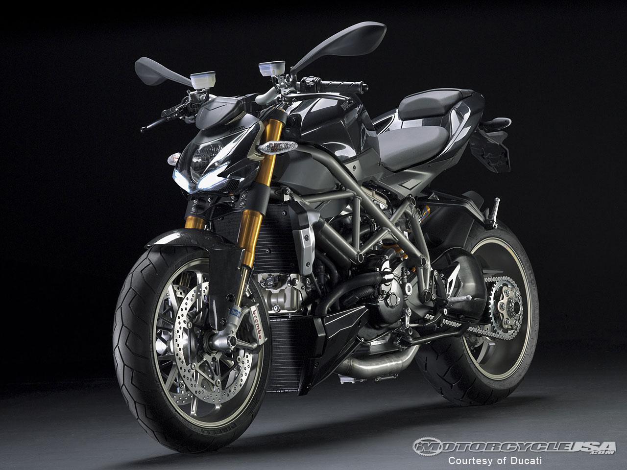 Black Ducati Streetfighter Superbike