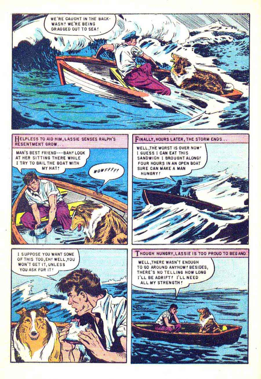 Lassie v1 #21 dell 1950s tv comic book page art by Matt Baker