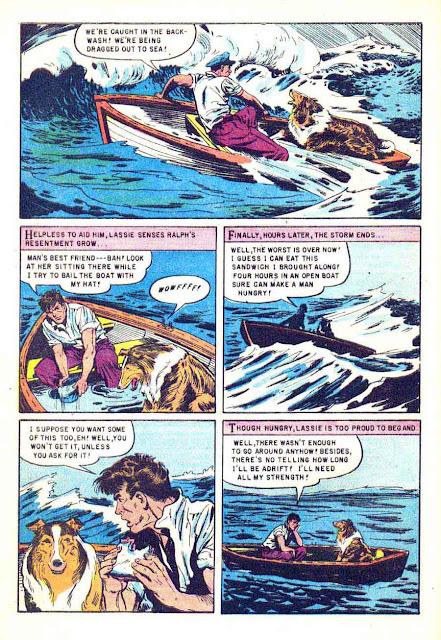 Lassie v1 #21 dell 1950s tv comic book page art by Matt Baker
