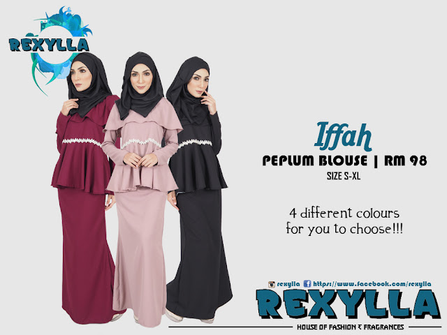 rexylla, cape blouse, peplum blouse, cape peplum blouse, iffah collection