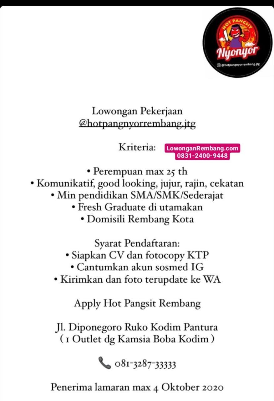 Lowongan Kerja Hot Pangsit Nyonyor Rembang Cukup Chat WhatsApp