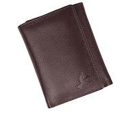 Tri- fold leather wallet for men