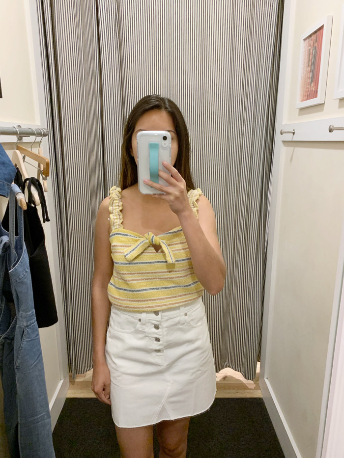 yellow top white jean skirt