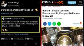 Difitnah Tambah Saham di Perusahaan Bir, Pemprov DKI Justru Ingin Menjual Tapi Ditolak DPRD