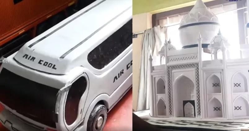 Air-cool bus, Taj Mahal by Shiji, Paper Craft, Artwork