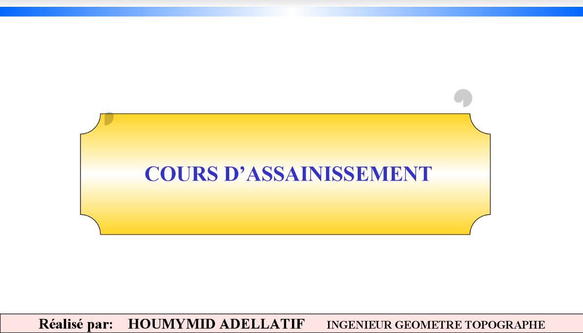 Cours assainissement niveau ing nieur cours g nie for Assainissement cours pdf
