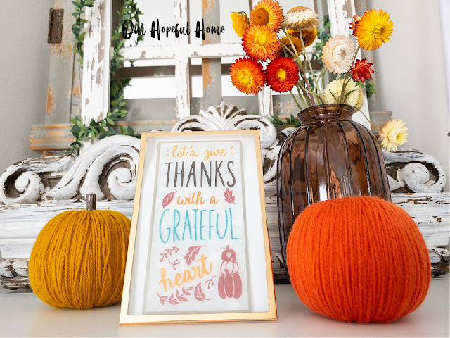 pumpkin decor brown glass vase strawflowers