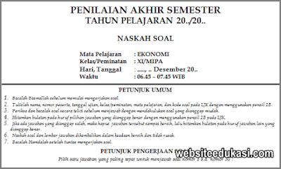 Soal PAS Ekonomi Peminatan Kelas 11 Tahun 2019/2020